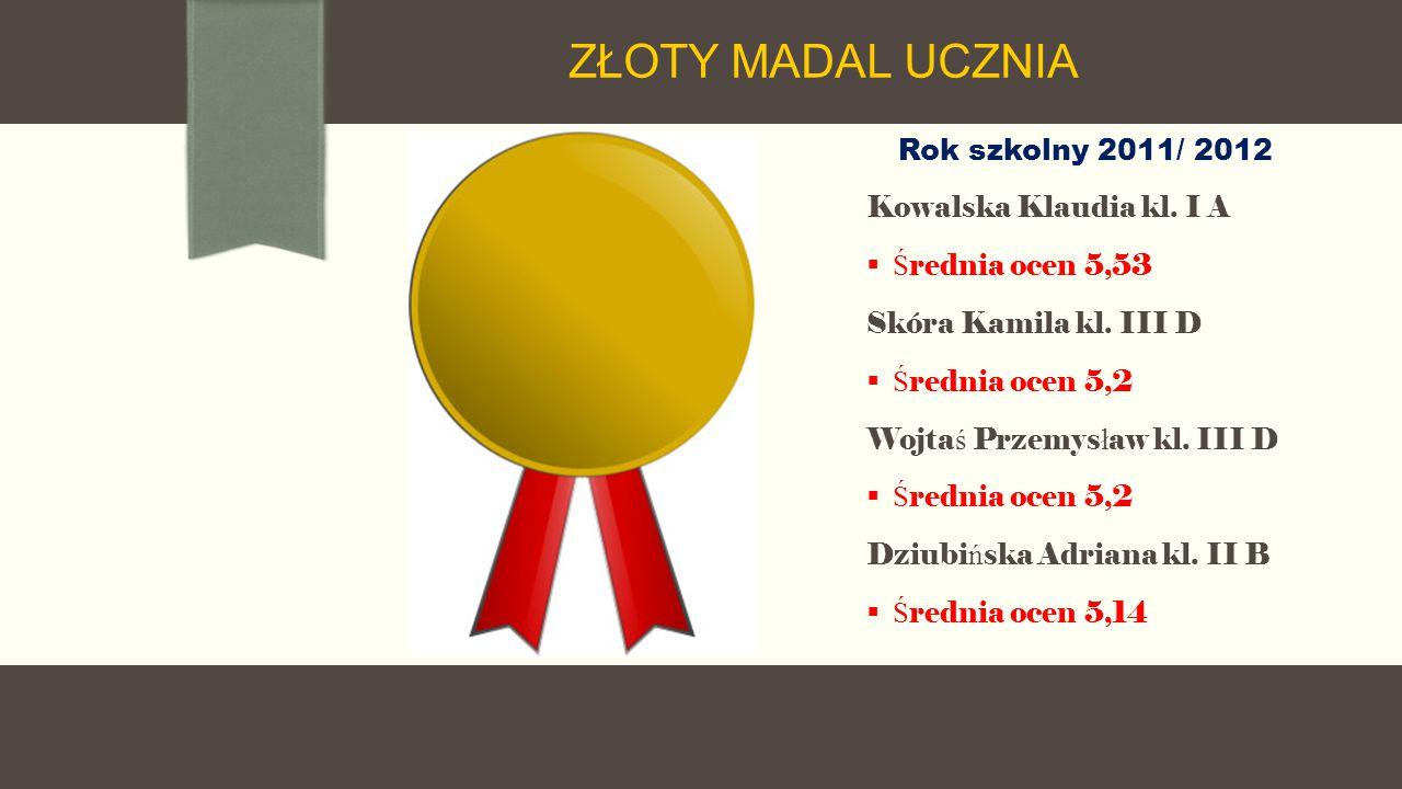 Rok szkolny 2011/ 2012 Kowalska Klaudia kl. I A  Ś rednia ocen 5,53 Skóra Kamila kl.