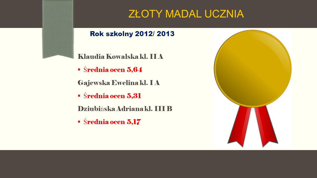 Rok szkolny 2012/ 2013 Klaudia Kowalska kl. II A  Ś rednia ocen 5,64 Gajewska Ewelina kl.