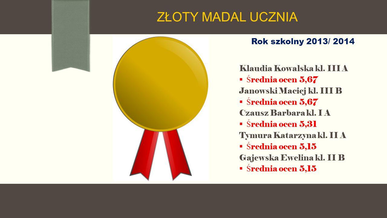Rok szkolny 2013/ 2014 Klaudia Kowalska kl. III A  Ś rednia ocen 5,67 Janowski Maciej kl.