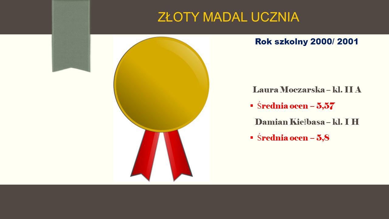 Rok szkolny 2000/ 2001 Laura Moczarska – kl. II A  Ś rednia ocen – 5,57 Damian Kie ł basa – kl.