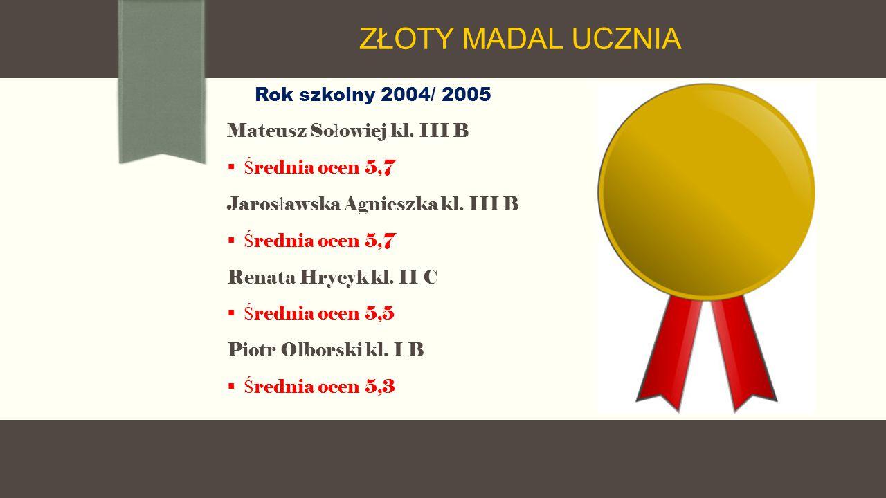 Rok szkolny 2004/ 2005 Mateusz So ł owiej kl. III B  Ś rednia ocen 5,7 Jaros ł awska Agnieszka kl.