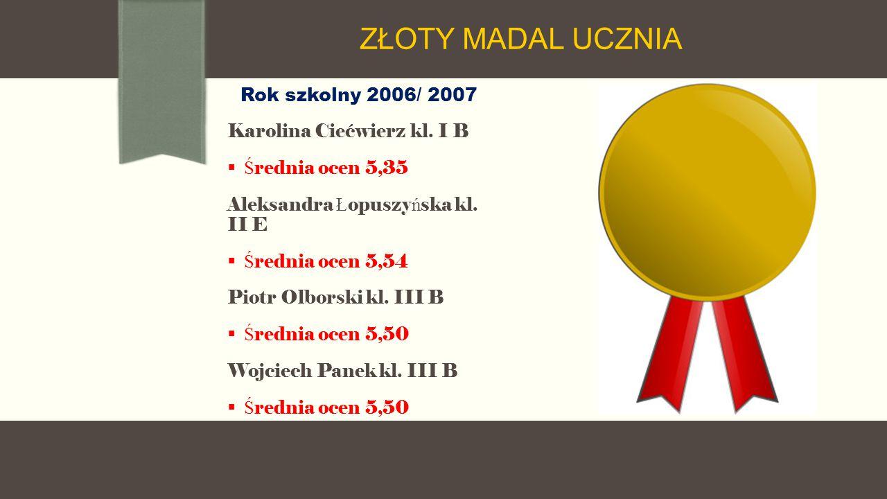 Rok szkolny 2006/ 2007 Karolina Ciećwierz kl.
