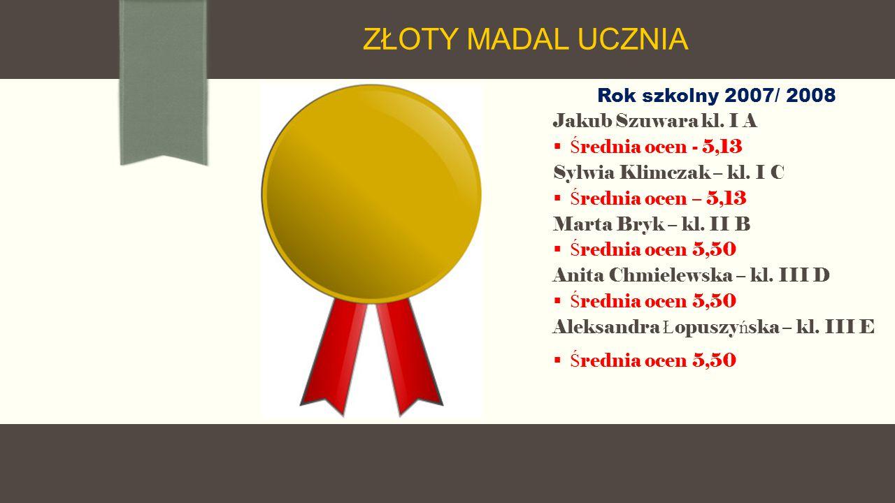 Rok szkolny 2007/ 2008 Jakub Szuwara kl. I A  Ś rednia ocen - 5,13 Sylwia Klimczak – kl.
