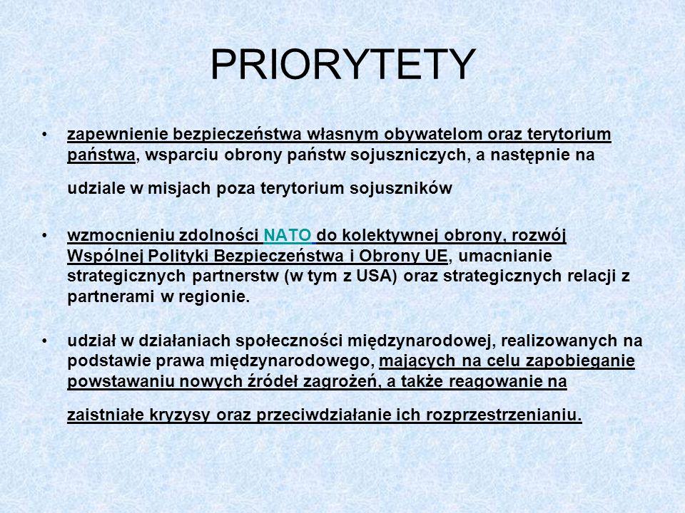 PRIORYTETY zapewnienie bezpieczeństwa własnym obywatelom oraz terytorium państwa, wsparciu obrony państw sojuszniczych, a następnie na udziale w misja