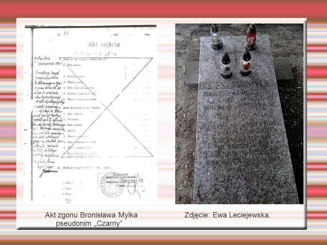 """f Akt zgonu Bronisława Mylka pseudonim """"Czarny"""" Zdjęcie: Ewa Leciejewska."""