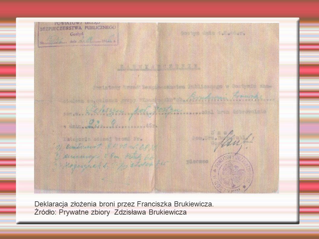 Deklaracja złożenia broni przez Franciszka Brukiewicza. Źródło: Prywatne zbiory Zdzisława Brukiewicza