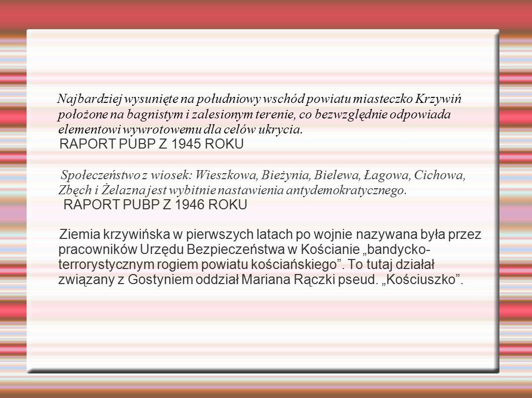 Najbardziej wysunięte na południowy wschód powiatu miasteczko Krzywiń położone na bagnistym i zalesionym terenie, co bezwzględnie odpowiada elementowi