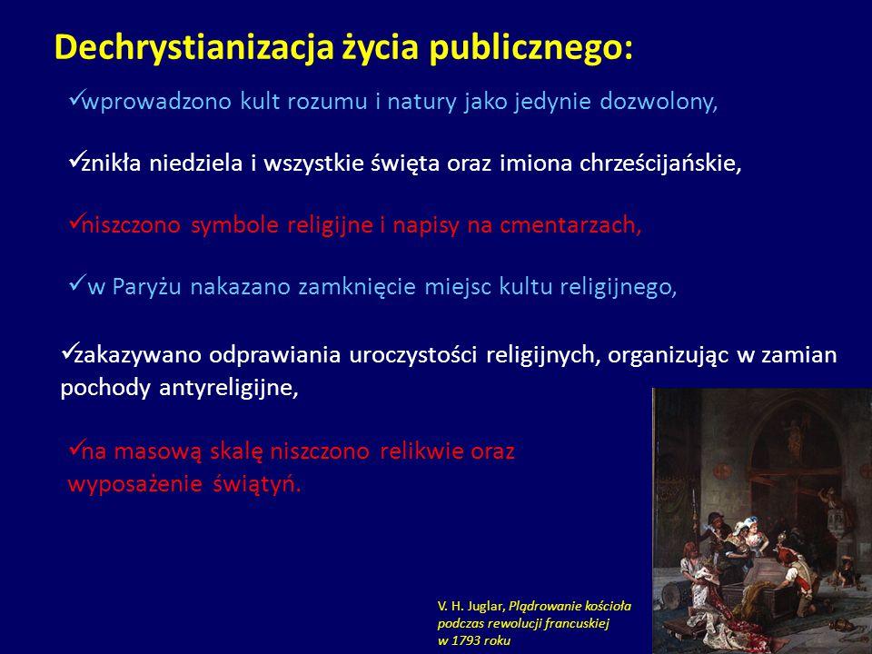zakazywano odprawiania uroczystości religijnych, organizując w zamian pochody antyreligijne, Dechrystianizacja życia publicznego: wprowadzono kult roz