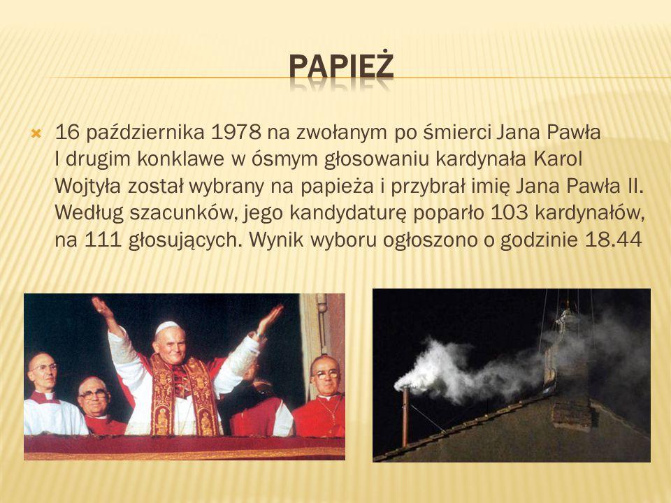  16 października 1978 na zwołanym po śmierci Jana Pawła I drugim konklawe w ósmym głosowaniu kardynała Karol Wojtyła został wybrany na papieża i przy