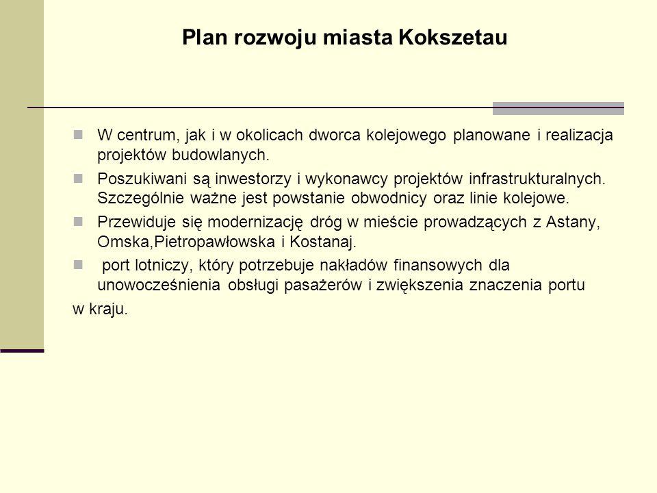 Plan rozwoju miasta Kokszetau W centrum, jak i w okolicach dworca kolejowego planowane i realizacja projektów budowlanych. Poszukiwani są inwestorzy i