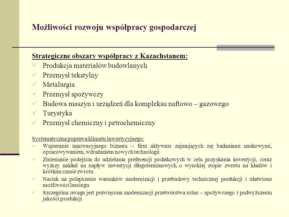 Możliwości rozwoju współpracy gospodarczej Strategiczne obszary współpracy z Kazachstanem: Produkcja materiałów budowlanych Przemysł tekstylny Metalur