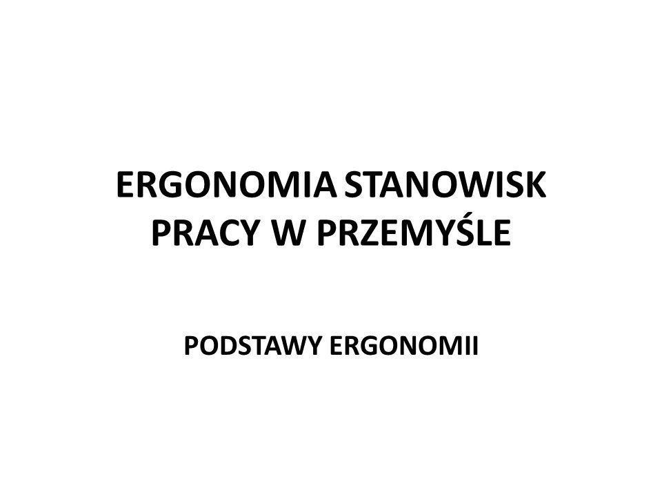 ERGONOMIA STANOWISK PRACY W PRZEMYŚLE PODSTAWY ERGONOMII