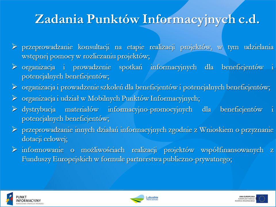 7 Zadania Punktów Informacyjnych c.d.