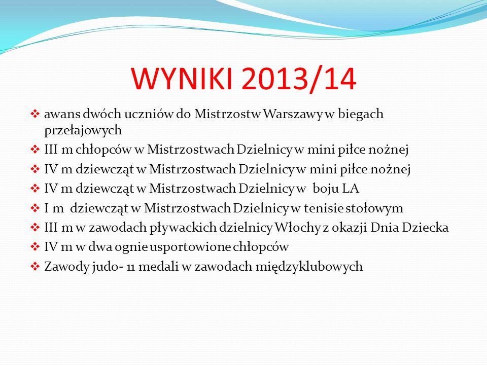 WYNIKI 2013/14  awans dwóch uczniów do Mistrzostw Warszawy w biegach przełajowych  III m chłopców w Mistrzostwach Dzielnicy w mini piłce nożnej  IV