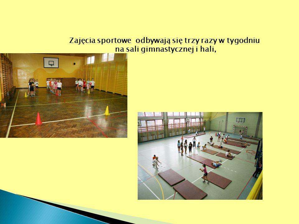 Zajęcia sportowe odbywają się trzy razy w tygodniu na sali gimnastycznej i hali,