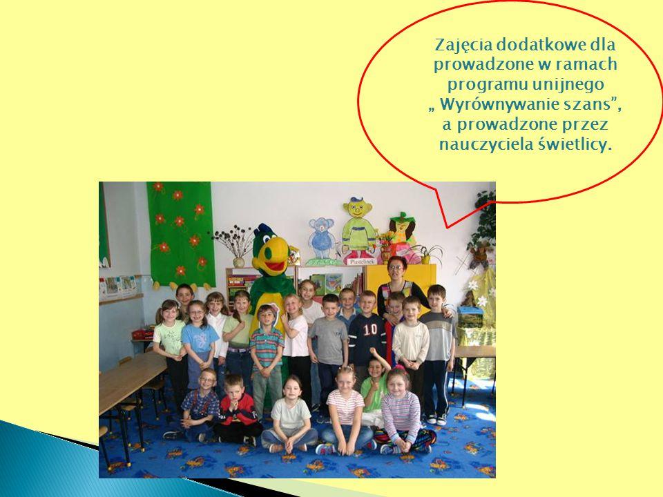 """Zajęcia dodatkowe dla prowadzone w ramach programu unijnego """" Wyrównywanie szans"""", a prowadzone przez nauczyciela świetlicy."""