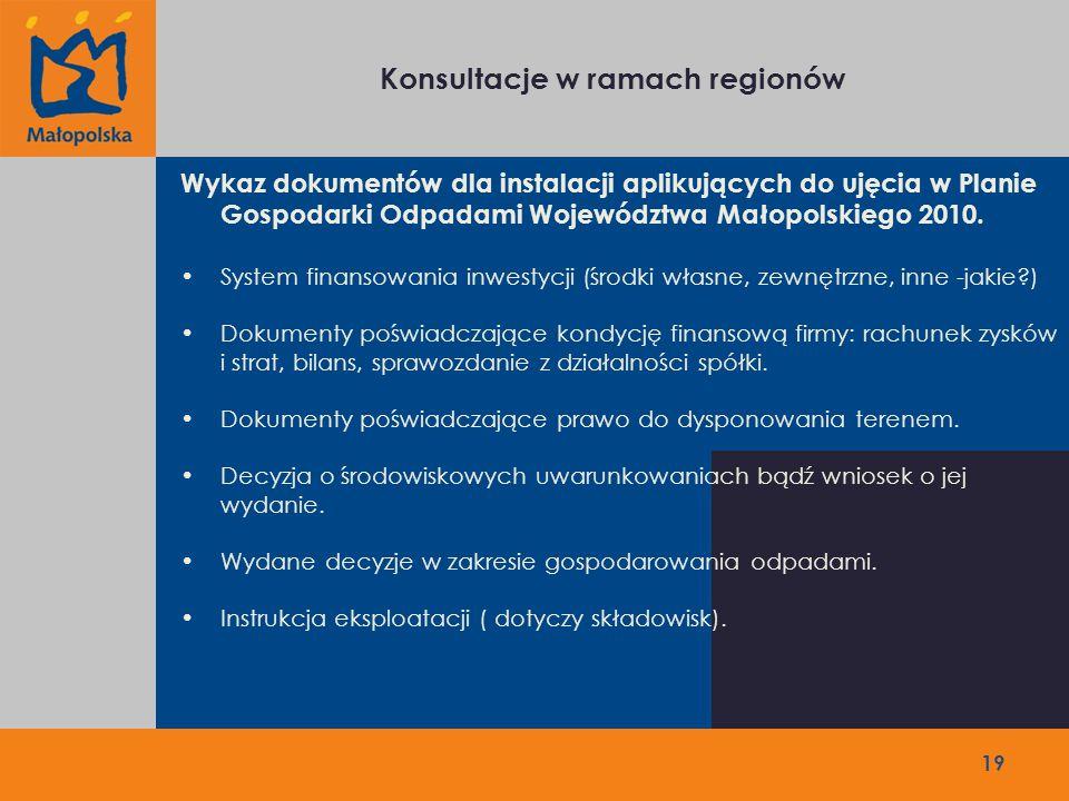 Konsultacje w ramach regionów 19 Wykaz dokumentów dla instalacji aplikujących do ujęcia w Planie Gospodarki Odpadami Województwa Małopolskiego 2010.