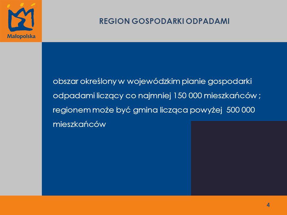 REGION 5 - MYŚLENICKI Wytworzone w 2013 roku: 65 773 Mg/rok Przepustowość instalacji w 2011 roku: 47 460 Mg/rok Przepustowość zgłoszonych instalacji: 30 000 Mg/rok Liczba mieszkańców: 244 253 Instalacje zgłoszone, jako planowane: Zakład zagospodarowania odpadów w Myślenicach, 30 000 Mg/rok, Zakład Utylizacji Odpadów w Myślenicach, koszt 47,5 mln zł Gminny punkt gromadzenia odpadów z linią do segregacji odpadów posegregowanych wstępnie u źródła oraz gminny punkt stacji przeładunkowej odpadów w Limanowej, 10 000 Mg/rok, koszt 2 mln zł 15