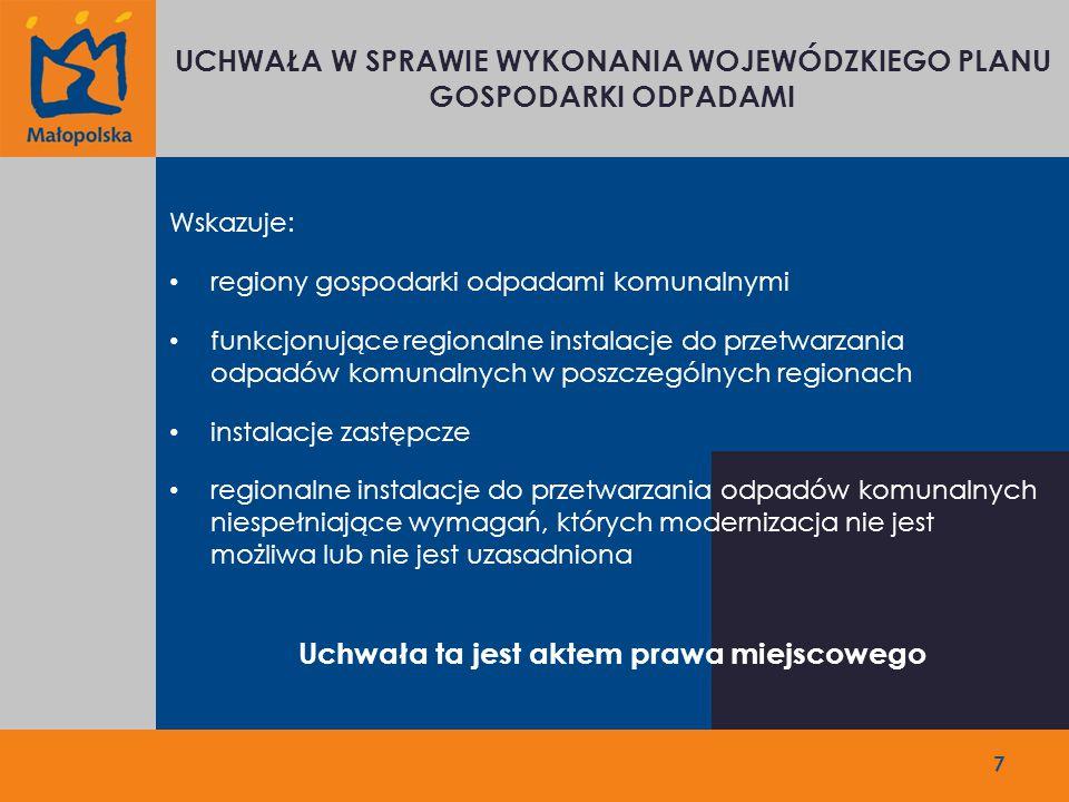 7 UCHWAŁA W SPRAWIE WYKONANIA WOJEWÓDZKIEGO PLANU GOSPODARKI ODPADAMI Wskazuje: regiony gospodarki odpadami komunalnymi funkcjonujące regionalne instalacje do przetwarzania odpadów komunalnych w poszczególnych regionach instalacje zastępcze regionalne instalacje do przetwarzania odpadów komunalnych niespełniające wymagań, których modernizacja nie jest możliwa lub nie jest uzasadniona Uchwała ta jest aktem prawa miejscowego