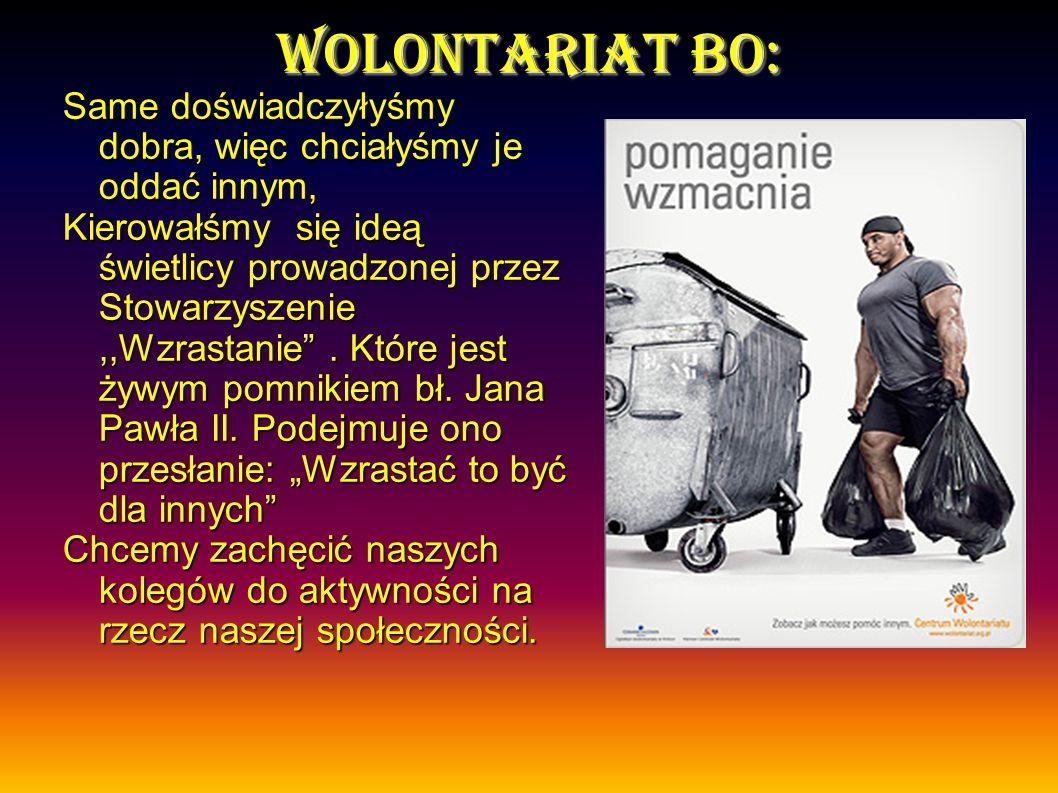 W m ł odzie Ż owym klubie wolontariusza, za podj Ę te dzia ł ania oprócz do Ś wiadcze Ń osobistych czekaj Ą na Was dypolmy z zaprezentowanym logo.