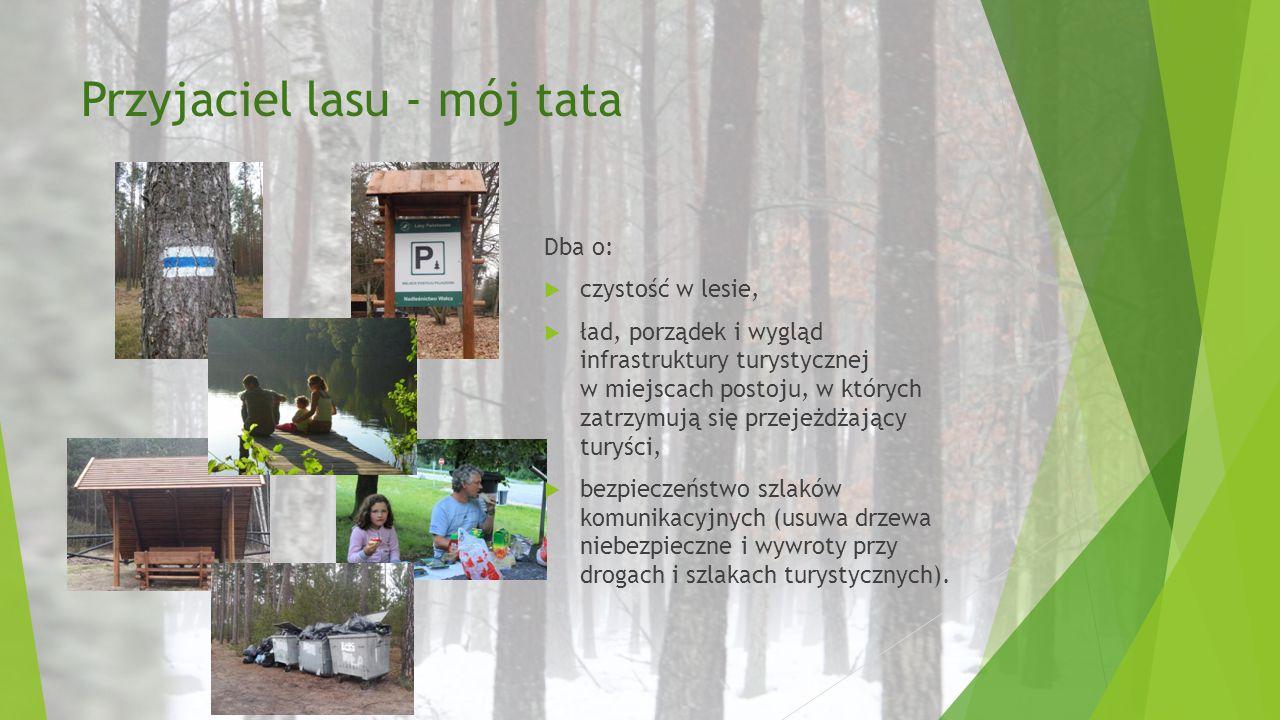 Przyjaciel lasu - mój tata Dba o:  czystość w lesie,  ład, porządek i wygląd infrastruktury turystycznej w miejscach postoju, w których zatrzymują s