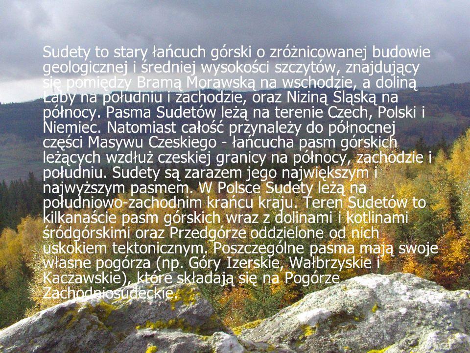 Sudety to stary łańcuch górski o zróżnicowanej budowie geologicznej i średniej wysokości szczytów, znajdujący się pomiędzy Bramą Morawską na wschodzie