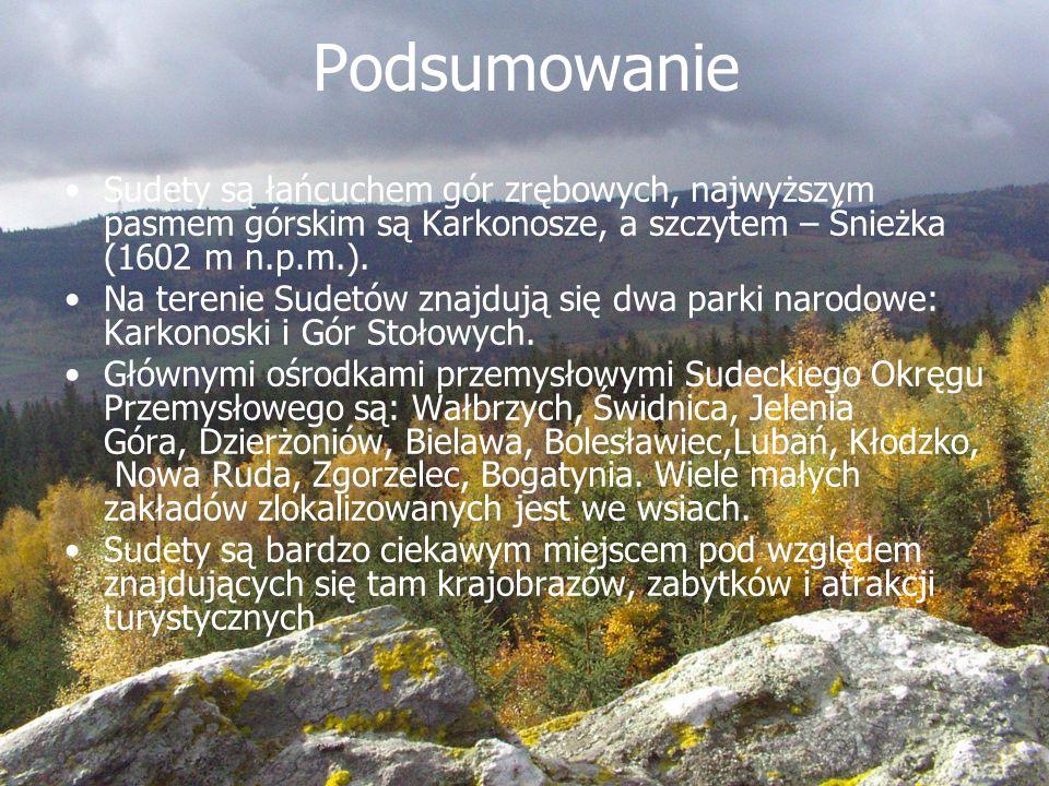 Podsumowanie Sudety są łańcuchem gór zrębowych, najwyższym pasmem górskim są Karkonosze, a szczytem – Śnieżka (1602 m n.p.m.). Na terenie Sudetów znaj