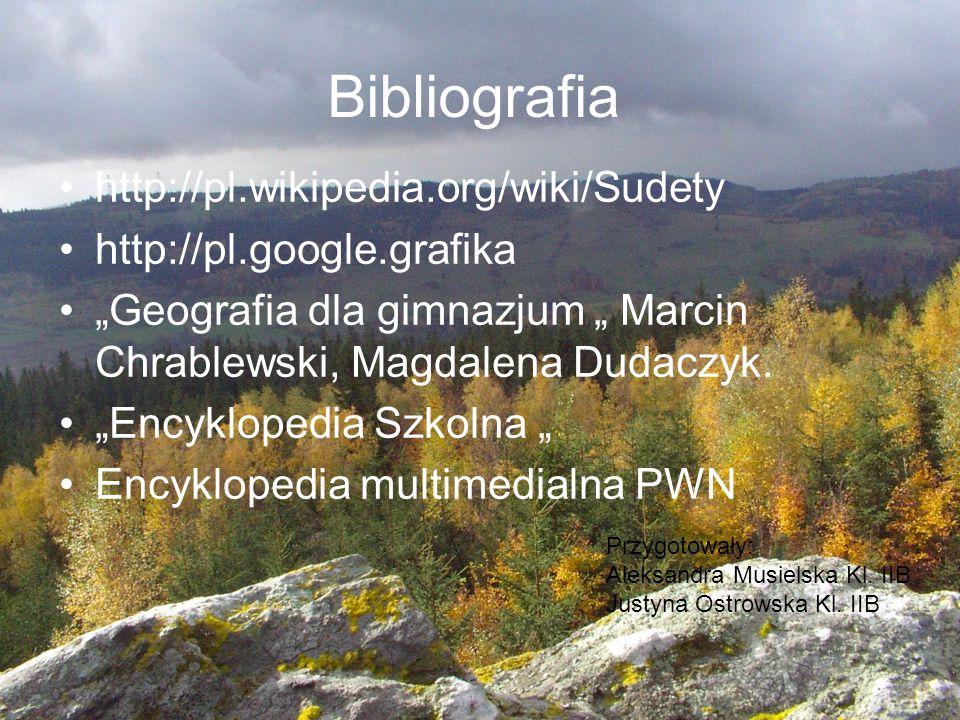 """Bibliografia http://pl.wikipedia.org/wiki/Sudety http://pl.google.grafika """"Geografia dla gimnazjum """" Marcin Chrablewski, Magdalena Dudaczyk. """"Encyklop"""