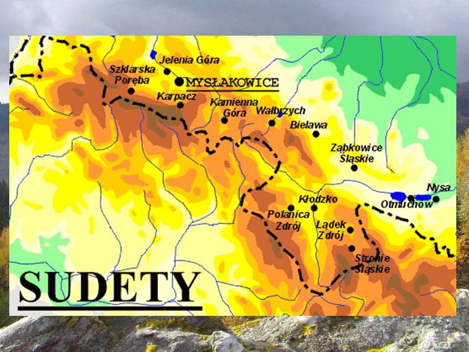 Podstawowy podział Sudetów Sudety dzielą się na: najwyższe Sudety Zachodnie: najwyższy szczyt Śnieżka -1602 m n.p.m.