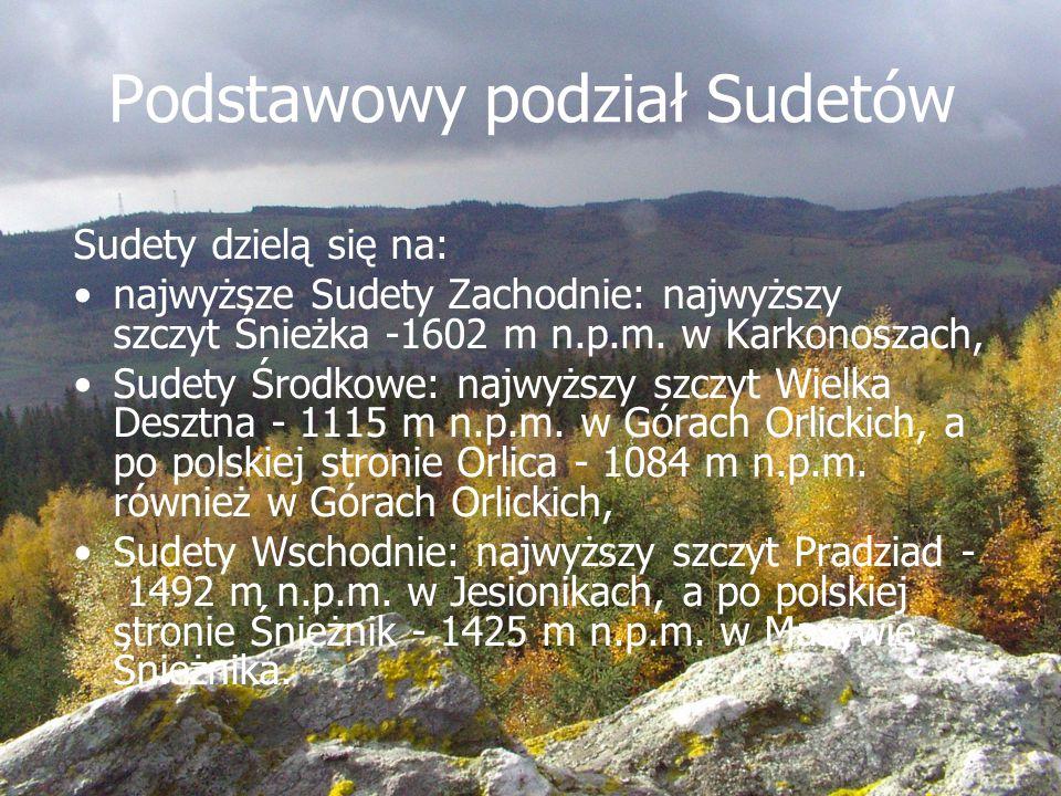 Podstawowy podział Sudetów Sudety dzielą się na: najwyższe Sudety Zachodnie: najwyższy szczyt Śnieżka -1602 m n.p.m. w Karkonoszach, Sudety Środkowe:
