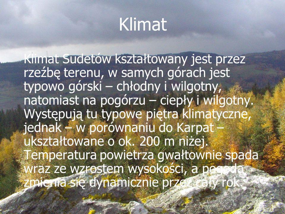 Klimat Klimat Sudetów kształtowany jest przez rzeźbę terenu, w samych górach jest typowo górski – chłodny i wilgotny, natomiast na pogórzu – ciepły i