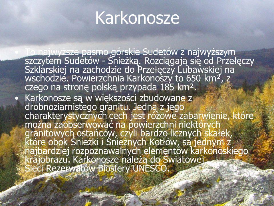 Karkonosze To najwyższe pasmo górskie Sudetów z najwyższym szczytem Sudetów - Śnieżką. Rozciągają się od Przełęczy Szklarskiej na zachodzie do Przełęc