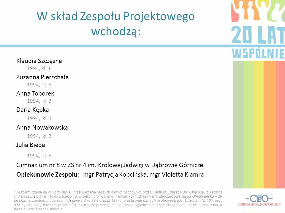 Klaudia Szczęsna 1994, kl. 3 Zuzanna Pierzchała 1994, kl.