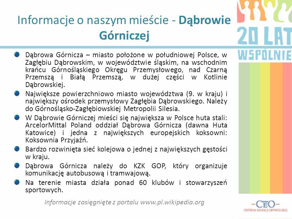 Informacje o naszym mieście - Dąbrowie Górniczej Dąbrowa Górnicza – miasto położone w południowej Polsce, w Zagłębiu Dąbrowskim, w województwie śląski
