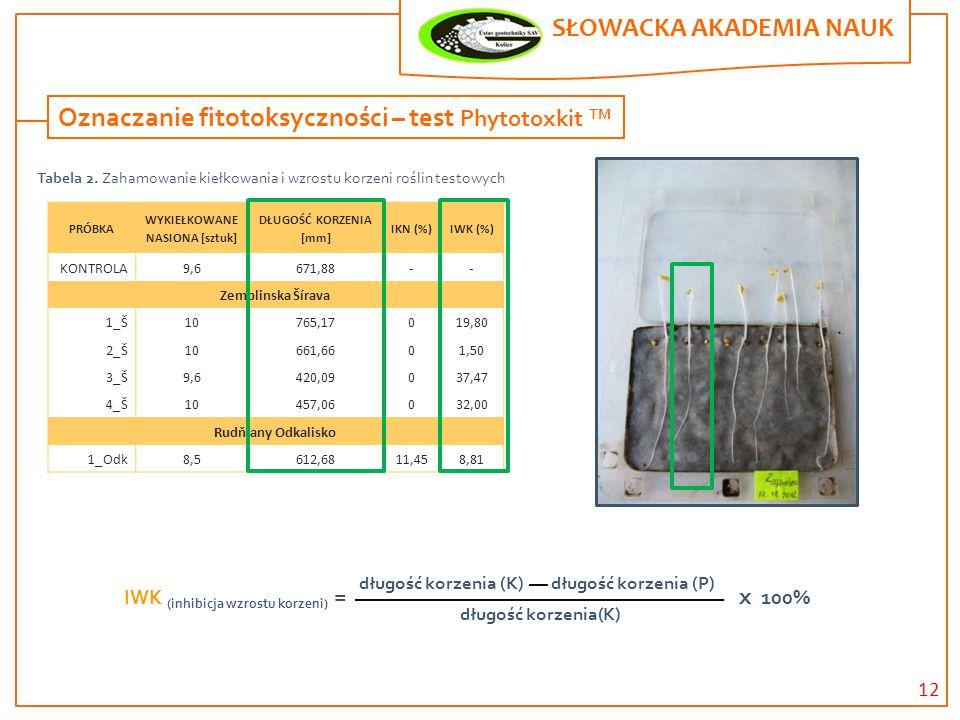 12 SŁOWACKA AKADEMIA NAUK. Oznaczanie fitotoksyczności – test Phytotoxkit TM PRÓBKA WYKIEŁKOWANE NASIONA [sztuk] DŁUGOŚĆ KORZENIA [mm] IKN (%)IWK (%)