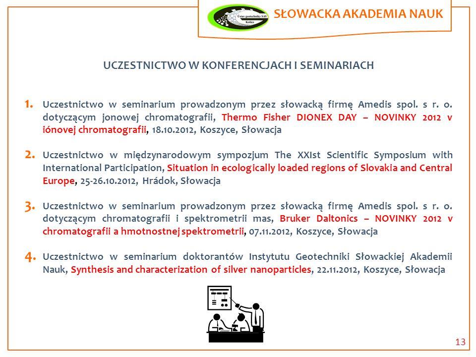 UCZESTNICTWO W KONFERENCJACH I SEMINARIACH 1. Uczestnictwo w seminarium prowadzonym przez słowacką firmę Amedis spol. s r. o. dotyczącym jonowej chrom