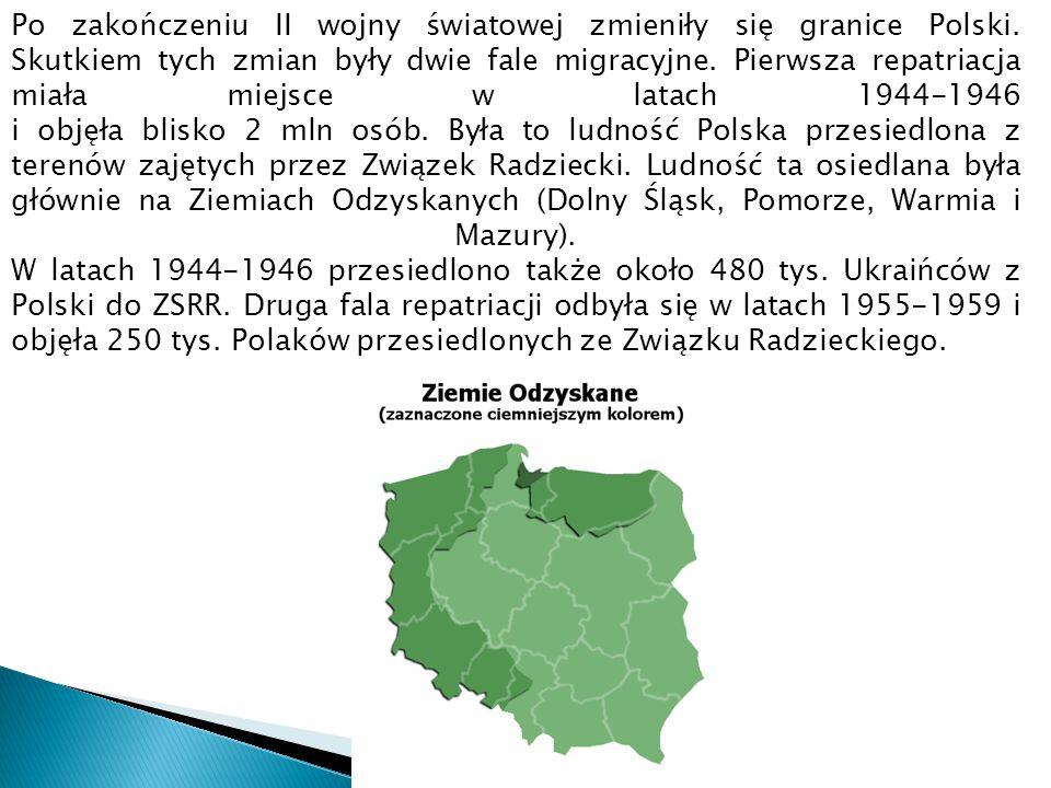 Po zakończeniu II wojny światowej zmieniły się granice Polski. Skutkiem tych zmian były dwie fale migracyjne. Pierwsza repatriacja miała miejsce w lat
