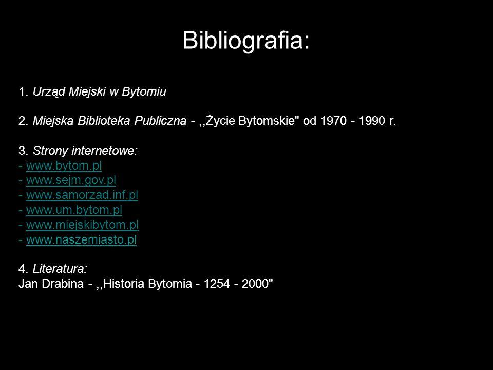 Bibliografia: 1. Urząd Miejski w Bytomiu 2.