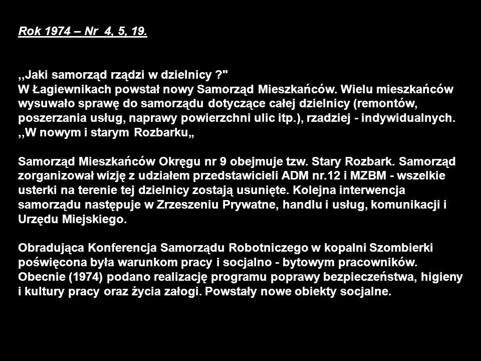 Rok 1974 – Nr 4, 5, 19.,,Jaki samorząd rządzi w dzielnicy ? W Łagiewnikach powstał nowy Samorząd Mieszkańców.