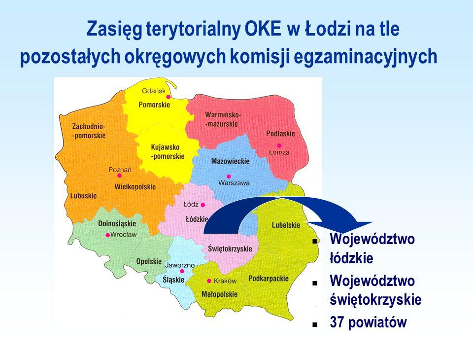 Zasięg terytorialny OKE w Łodzi na tle pozostałych okręgowych komisji egzaminacyjnych Województwo łódzkie Województwo świętokrzyskie 37 powiatów