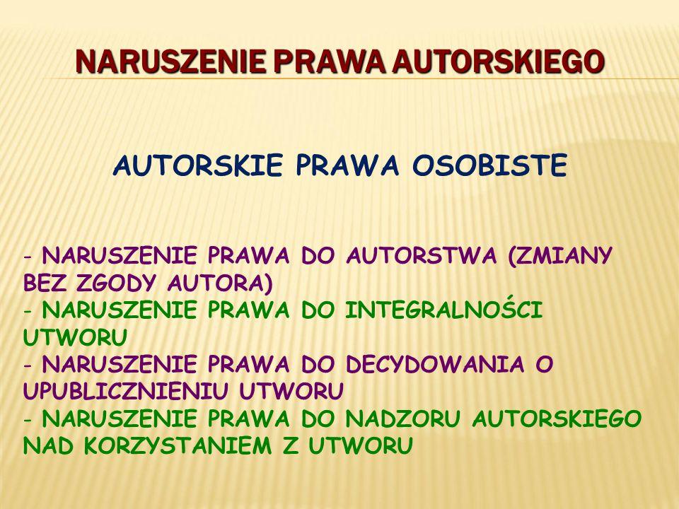 - NARUSZENIE PRAWA DO AUTORSTWA (ZMIANY BEZ ZGODY AUTORA) - NARUSZENIE PRAWA DO INTEGRALNOŚCI UTWORU - NARUSZENIE PRAWA DO DECYDOWANIA O UPUBLICZNIENI