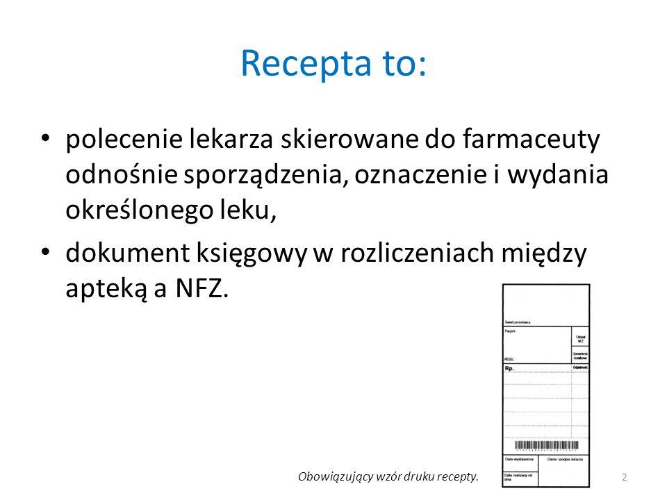 Recepta to: polecenie lekarza skierowane do farmaceuty odnośnie sporządzenia, oznaczenie i wydania określonego leku, dokument księgowy w rozliczeniach między apteką a NFZ.