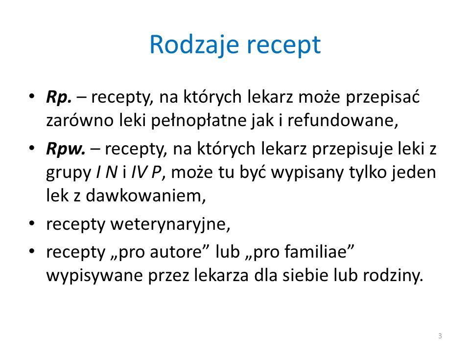 Rodzaje recept Rp. – recepty, na których lekarz może przepisać zarówno leki pełnopłatne jak i refundowane, Rpw. – recepty, na których lekarz przepisuj
