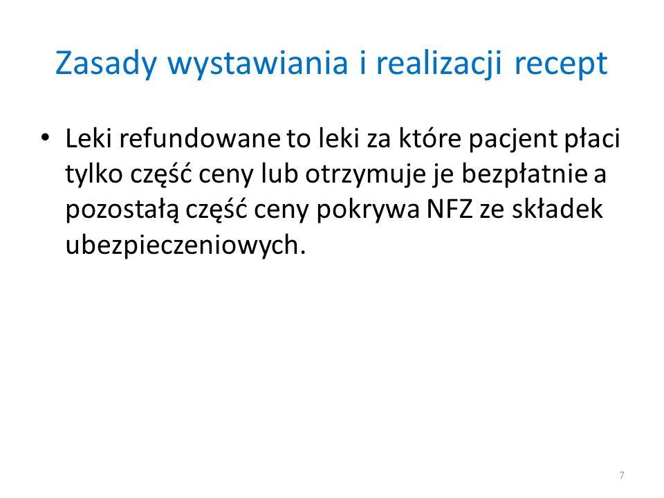 Zasady wystawiania i realizacji recept Leki refundowane to leki za które pacjent płaci tylko część ceny lub otrzymuje je bezpłatnie a pozostałą część ceny pokrywa NFZ ze składek ubezpieczeniowych.