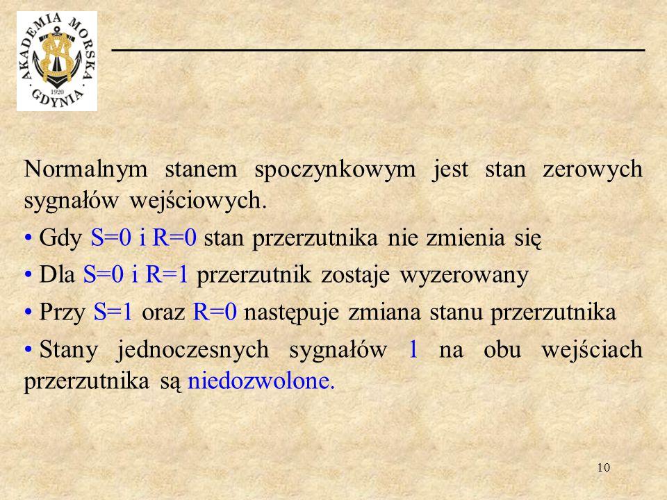 10 Normalnym stanem spoczynkowym jest stan zerowych sygnałów wejściowych. Gdy S=0 i R=0 stan przerzutnika nie zmienia się Dla S=0 i R=1 przerzutnik zo