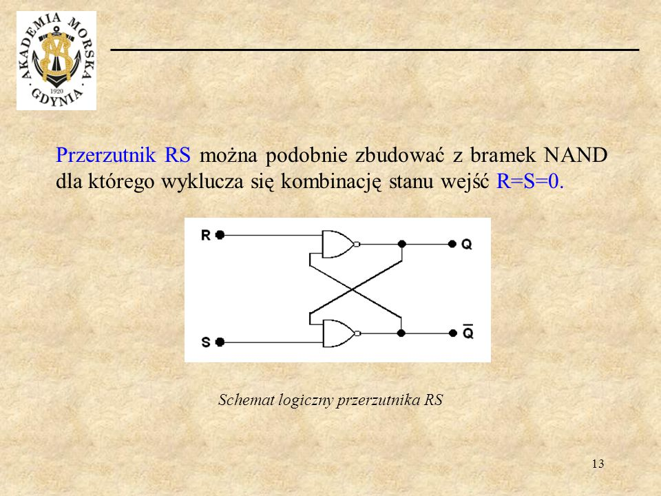 13 Przerzutnik RS można podobnie zbudować z bramek NAND dla którego wyklucza się kombinację stanu wejść R=S=0. Schemat logiczny przerzutnika RS