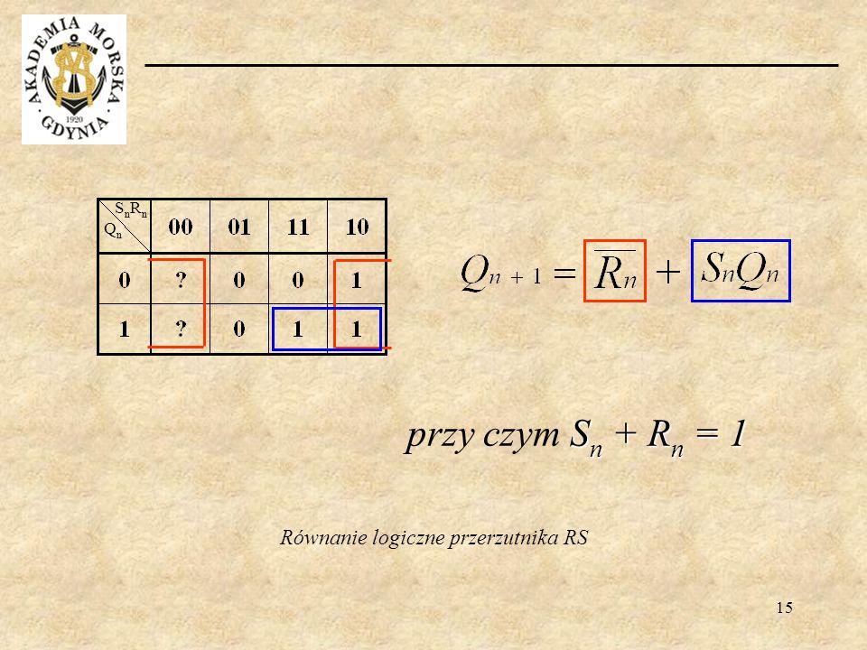15 Równanie logiczne przerzutnika RS QnQn SnRnSnRn S n + R n = 1 przy czym S n + R n = 1
