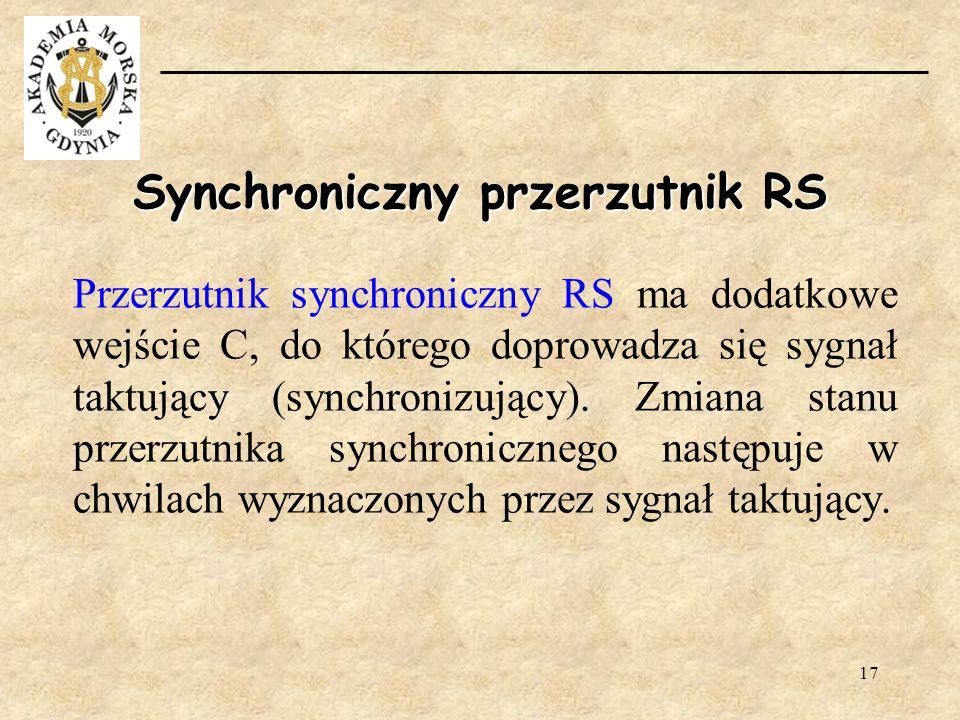 17 Przerzutnik synchroniczny RS ma dodatkowe wejście C, do którego doprowadza się sygnał taktujący (synchronizujący). Zmiana stanu przerzutnika synchr