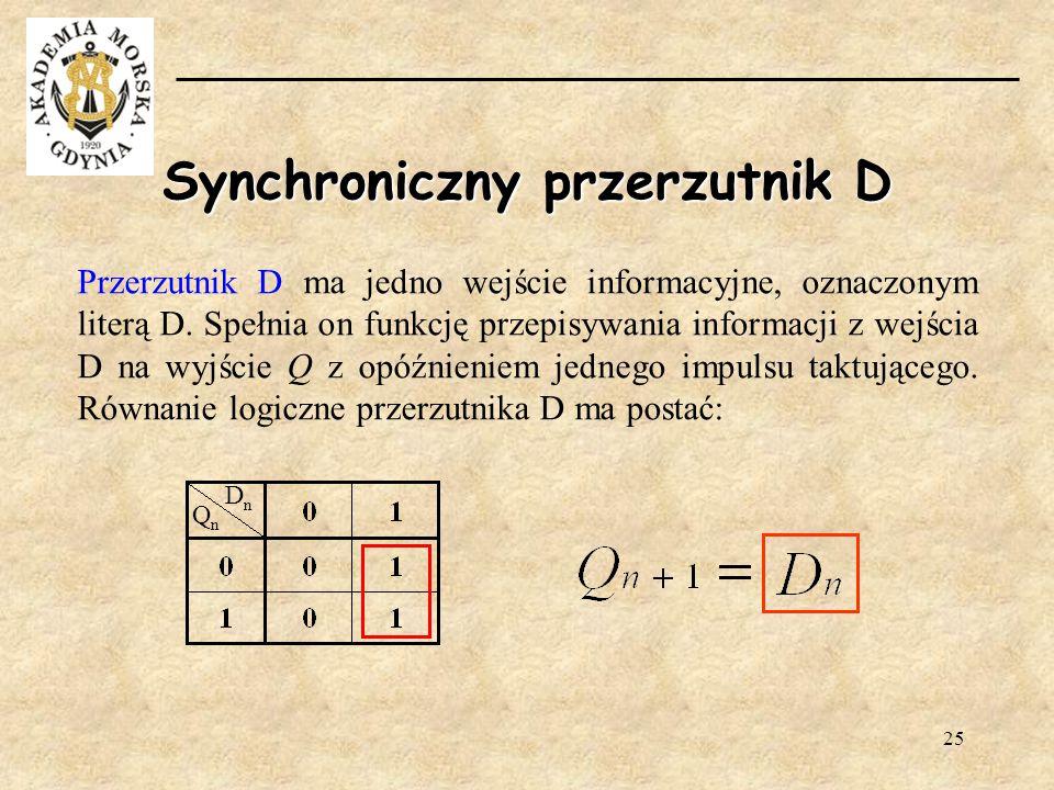 25 Synchroniczny przerzutnik D Przerzutnik D ma jedno wejście informacyjne, oznaczonym literą D. Spełnia on funkcję przepisywania informacji z wejścia