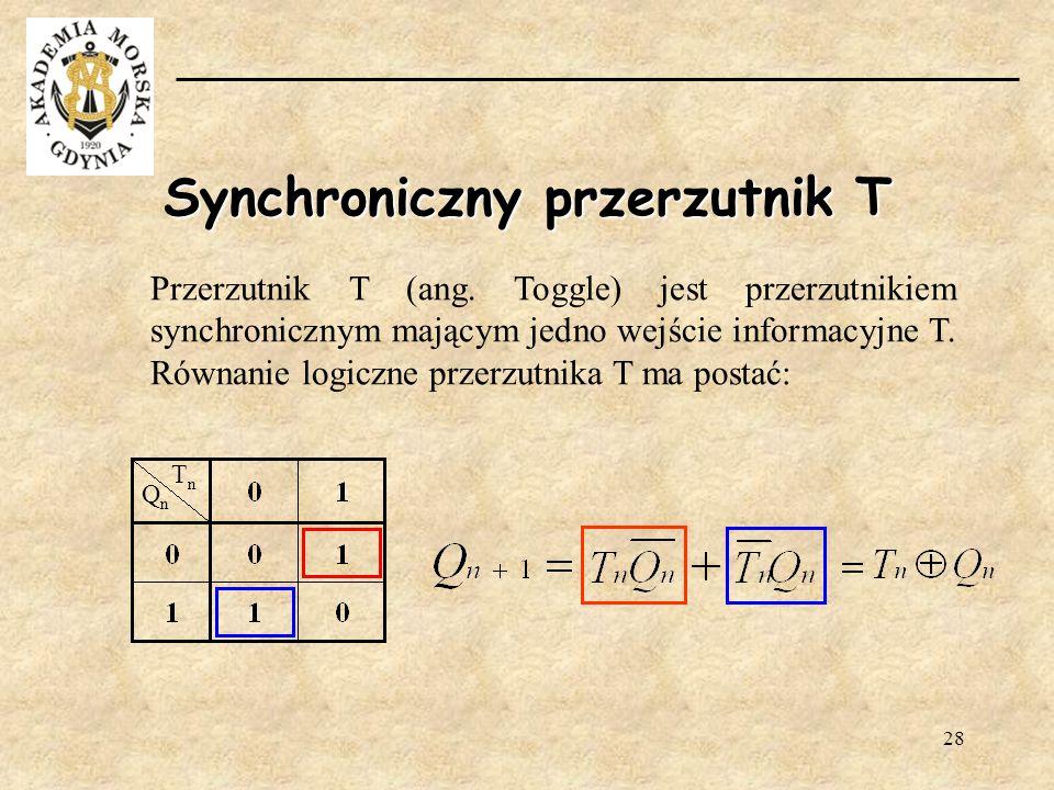 28 Synchroniczny przerzutnik T Przerzutnik T (ang. Toggle) jest przerzutnikiem synchronicznym mającym jedno wejście informacyjne T. Równanie logiczne